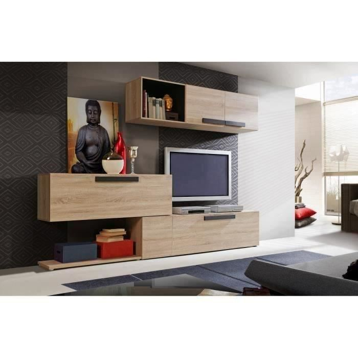 finlandek meuble tv mural nuori 283 cm d cor ch ne clair et weng achat vente meuble tv. Black Bedroom Furniture Sets. Home Design Ideas
