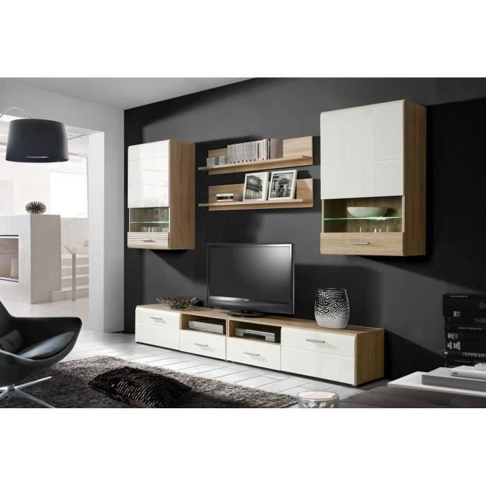 belinda meuble tv mural 280 cm blanc ch ne achat vente. Black Bedroom Furniture Sets. Home Design Ideas