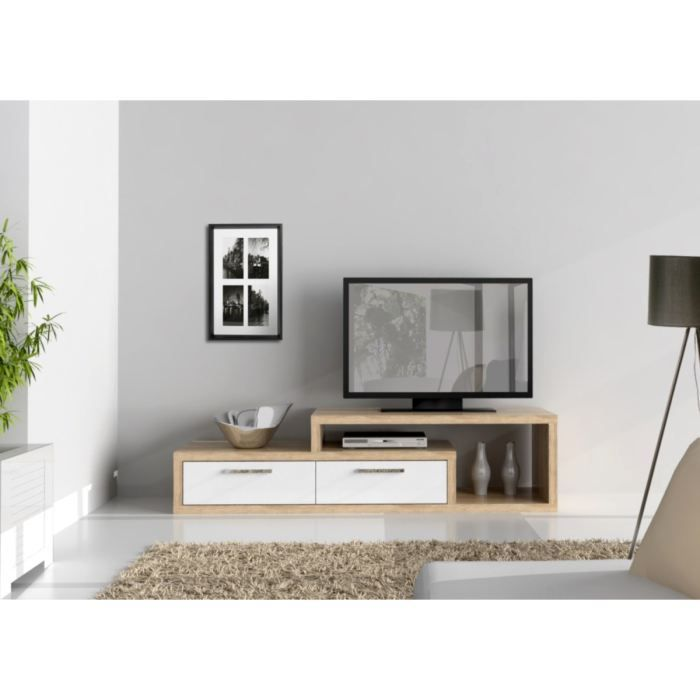 shine meuble tv 170 cm blanc ch ne achat vente meuble tv shine meuble tv 170 cm bois. Black Bedroom Furniture Sets. Home Design Ideas