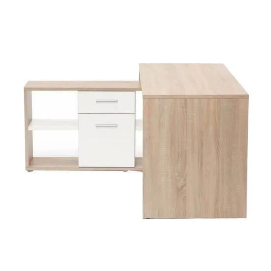 finlandek bureau d 39 angle ty contemporain d cor ch ne clair et blanc l 140 cm achat vente. Black Bedroom Furniture Sets. Home Design Ideas