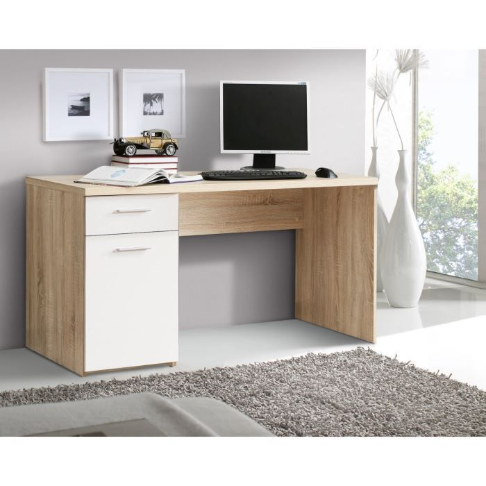 net bureau 140 cm d cor ch ne blanc achat vente bureau. Black Bedroom Furniture Sets. Home Design Ideas