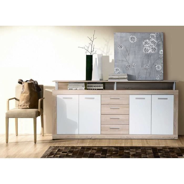 cava buffet bas contemporain d cor ch ne et blanc l 197 cm achat vente buffet bahut cava. Black Bedroom Furniture Sets. Home Design Ideas