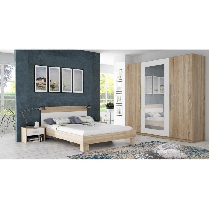 HELEN Chambre adulte complète style contemporain décor chêne ...