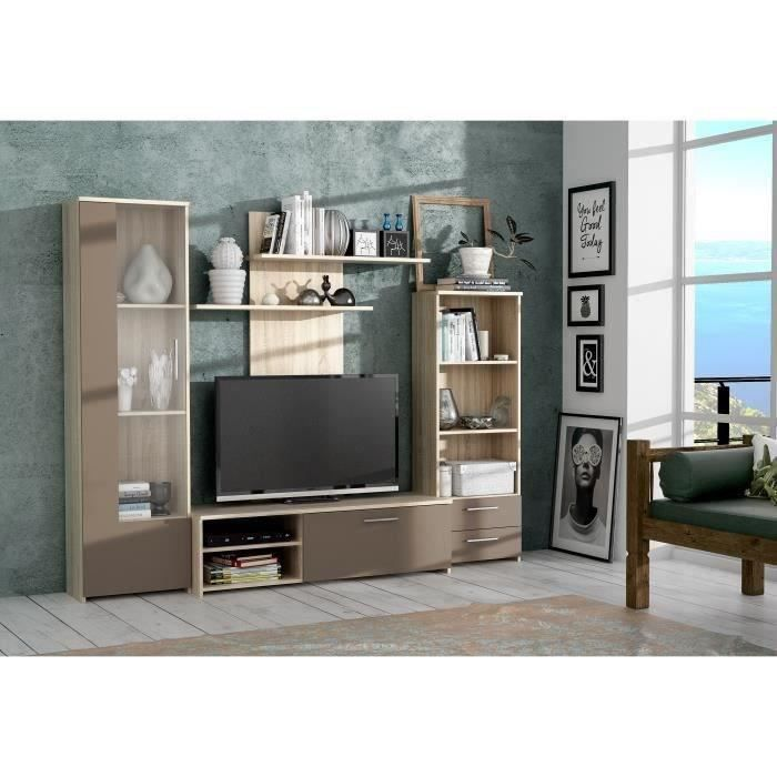 finlandek meuble tv mural pysy contemporain en bois agglom r d cor ch ne et taupe mat l 230. Black Bedroom Furniture Sets. Home Design Ideas