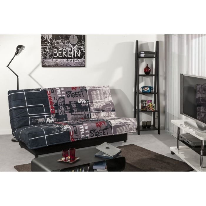 urban n banquette clic clac coffre convertible lit 3 places multicolore achat vente clic. Black Bedroom Furniture Sets. Home Design Ideas
