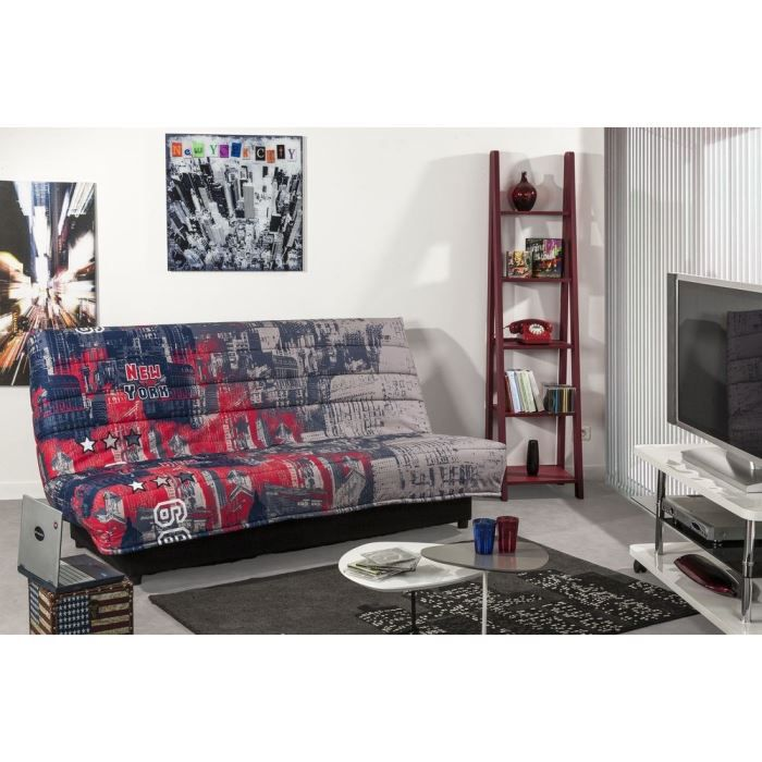 urbanr banquette clic clac convertible lit coffre 3 places tissu multicolore achat vente. Black Bedroom Furniture Sets. Home Design Ideas
