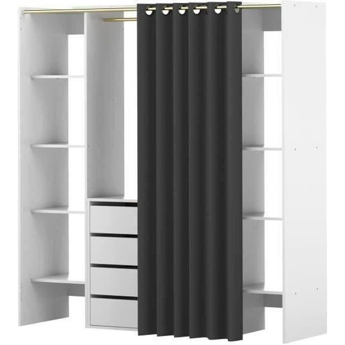 dress kit dressing extensible rideau contemporain blanc et anthracite l 112 185 cm achat. Black Bedroom Furniture Sets. Home Design Ideas