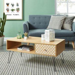 TABLE BASSE IGOR Table basse vintage décor chêne et imprimé -