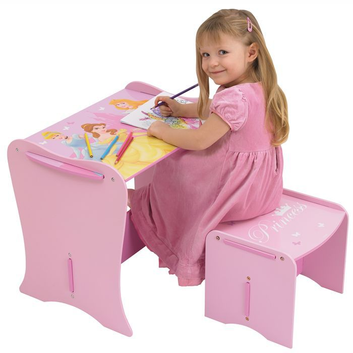 disney princess mon premier bureau en bois enfant et tabouret worlds appart achat vente. Black Bedroom Furniture Sets. Home Design Ideas