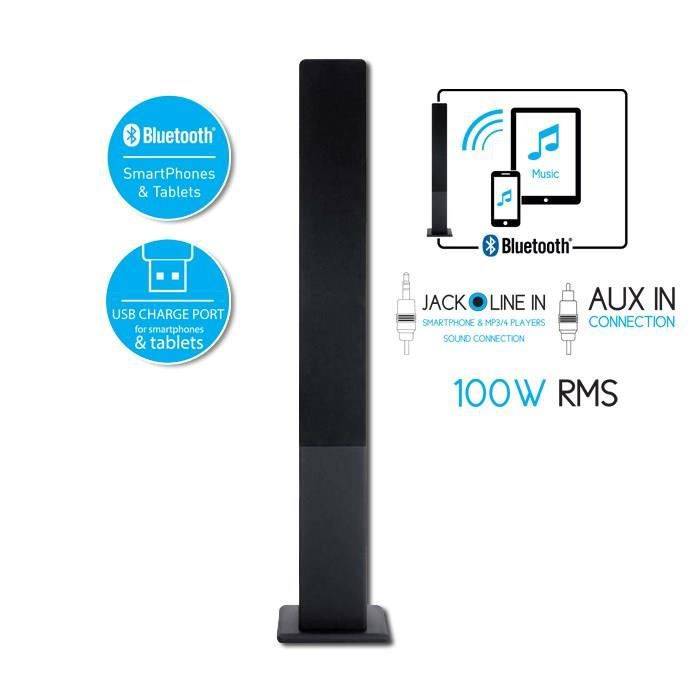 soundtower01 enceinte bluetooth tour 100w rms achat vente enceintes bluetooth soundtower. Black Bedroom Furniture Sets. Home Design Ideas