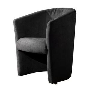 FAUTEUIL BAYA Fauteuil cabriolet - Tissu noir - L 65 x P 57
