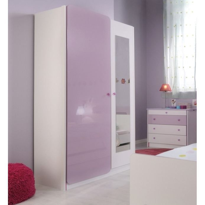 ladys armoire 2 portes et miroir achat vente armoire. Black Bedroom Furniture Sets. Home Design Ideas