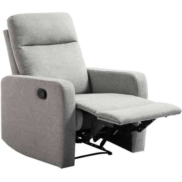 RICK Fauteuil de relaxation manuel - Tissu gris - Classique - L 76 x P 88 cm