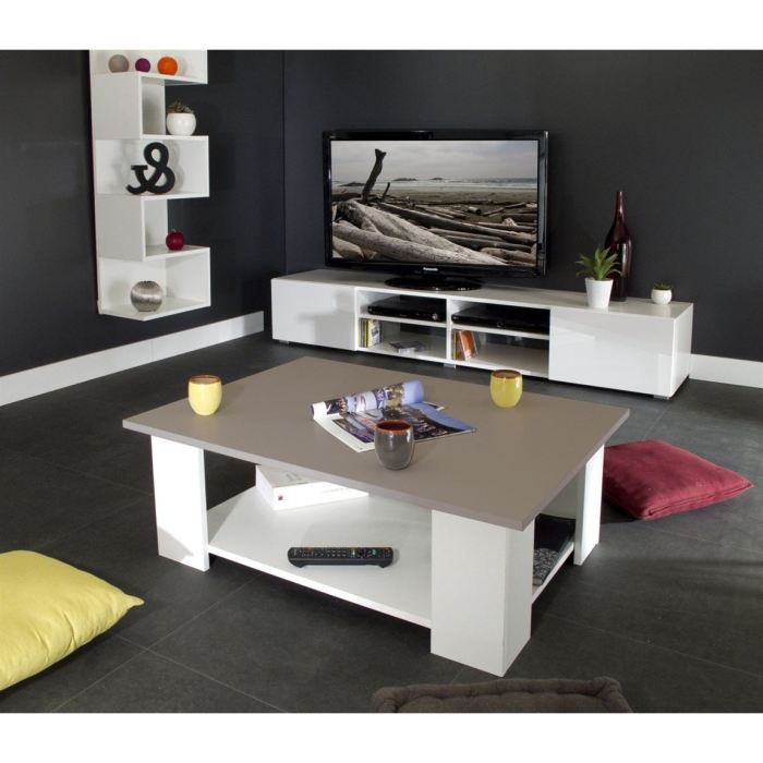 Mango table basse blanche plateau taupe 81x61x35cm achat vente mango tabl - Table basse blanche et taupe ...