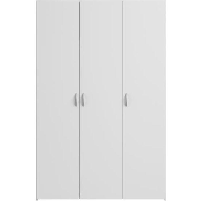 ARMOIRE DE CHAMBRE VARIA Armoire 3 portes décor blanc L120 cm