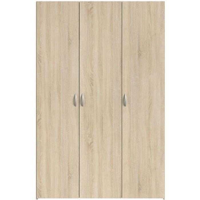 ARMOIRE DE CHAMBRE VARIA Armoire 3 portes décor chêne L120 cm