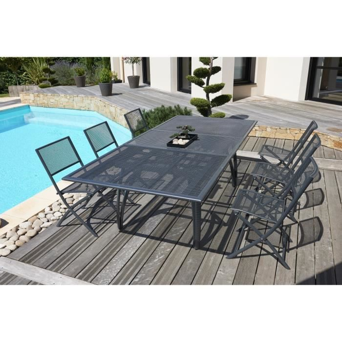 salon de jardin alu composite avec rallonge stunning table jardin composite table jardin. Black Bedroom Furniture Sets. Home Design Ideas