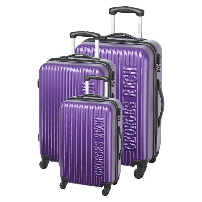 georges rech set de 3 valises trolley 4 roues 50 60 70 cm violet violet achat vente set de. Black Bedroom Furniture Sets. Home Design Ideas