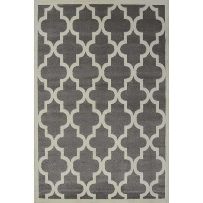 quadrilobe tapis de salon 80x150 cm gris et blanc achat. Black Bedroom Furniture Sets. Home Design Ideas