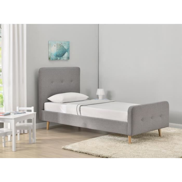 hansen lit enfant sommier scandinave tissu gris clair. Black Bedroom Furniture Sets. Home Design Ideas