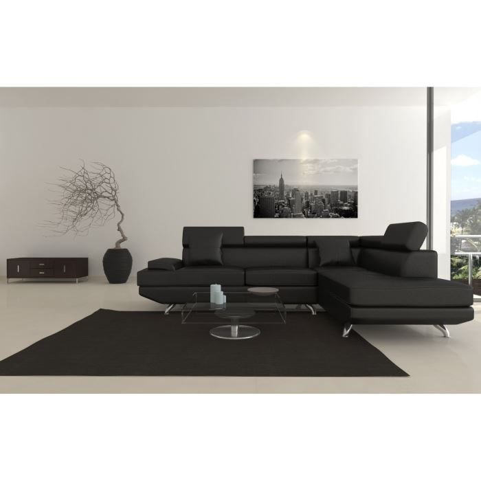 scoop fixe canap angle droit 4 places simili noir achat. Black Bedroom Furniture Sets. Home Design Ideas