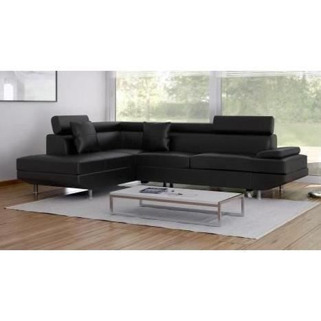 Scoop canap convertible simili 6 places 269x192x79 cm noir achat vent - Canape convertible simili ...