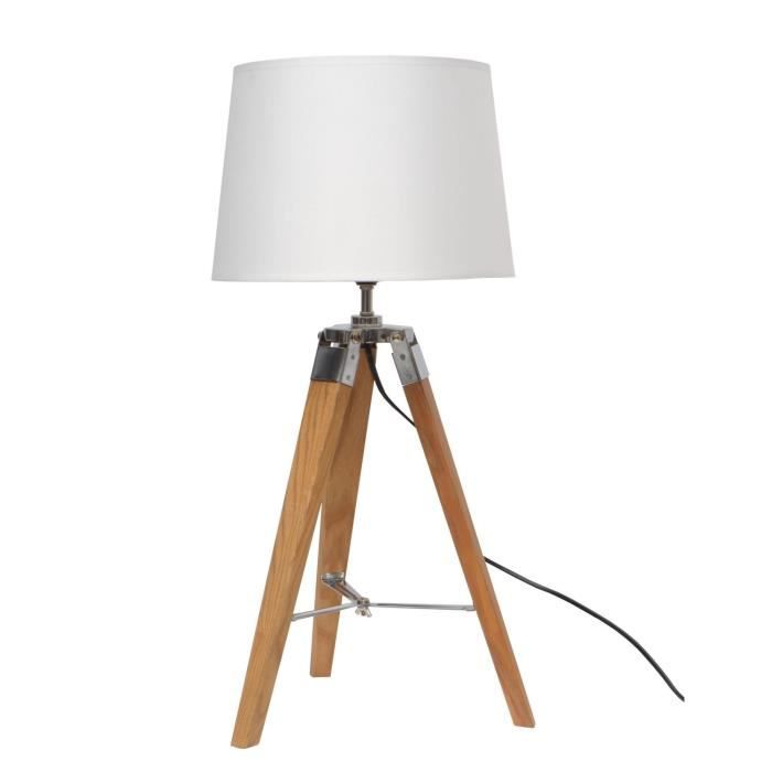 natural lampe poser tr pied bois naturel h65cm achat vente natural lampe tr pied bois. Black Bedroom Furniture Sets. Home Design Ideas