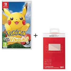 JEU NINTENDO SWITCH Pokémon : Let's go, Pikachu + Kit protège écran ve