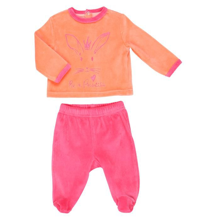 bebe reve pyjama velours b b fille orange et fuschia achat vente chemise de nuit cdiscount. Black Bedroom Furniture Sets. Home Design Ideas