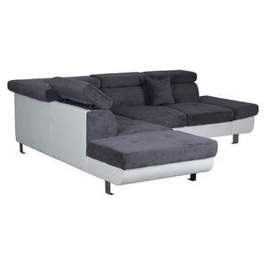 CANAPÉ - SOFA - DIVAN FINK Canapé d'angle gauche 5 places - Tissu gris e