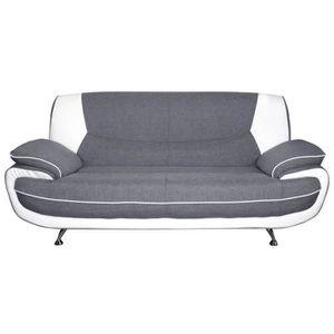 CANAPÉ - SOFA - DIVAN SPACIO Canapé droit fixe 3 places - Tissu gris et
