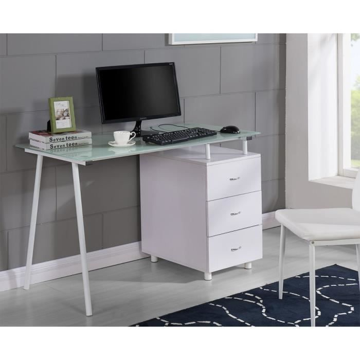cyber bureau 120 cm blanc achat vente bureau cyber bureau 120 cm blanc plateau verre. Black Bedroom Furniture Sets. Home Design Ideas