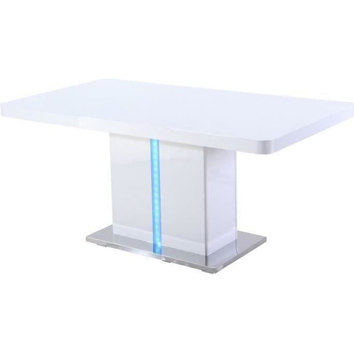 laser table manger avec led 6 personnes 160x90 cm laqu blanc brillant achat vente table. Black Bedroom Furniture Sets. Home Design Ideas