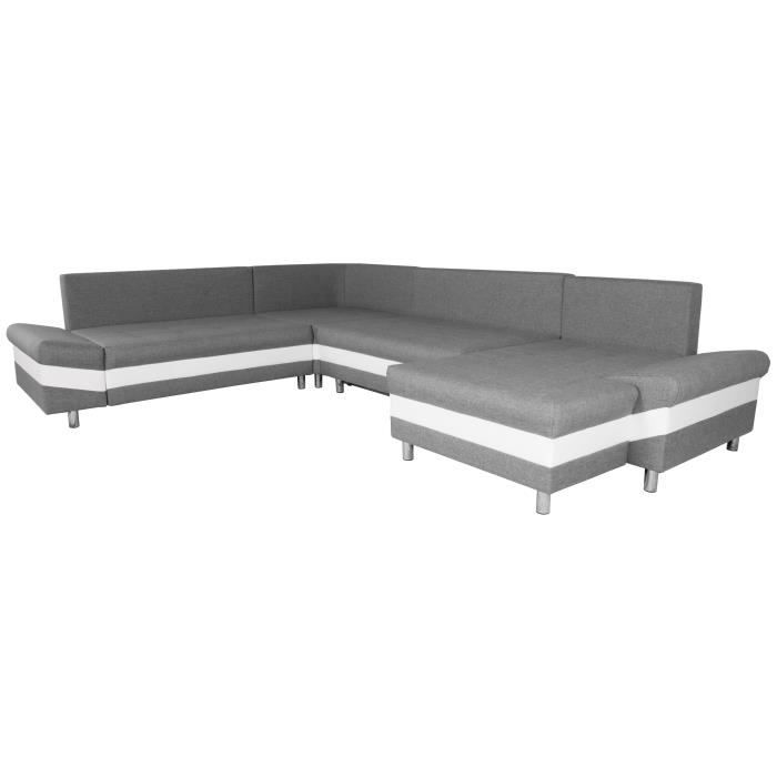 pegase canap d 39 angle panoramique gauche convertible 6 places 335x260x144 cm tissu gris et. Black Bedroom Furniture Sets. Home Design Ideas