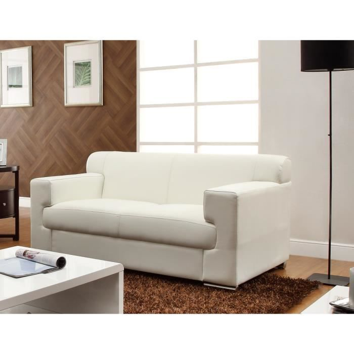 Cubo canap 2 places en cuir buffle et simili blanc for Canape cuir blanc 2 places