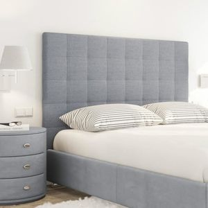 sogno t te de lit capitonn e style contemporain tissu gris clair l 140 cm achat vente. Black Bedroom Furniture Sets. Home Design Ideas