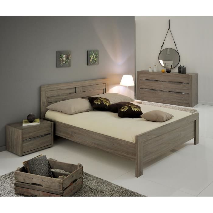 oxford ensemble lit 160x200 cm d cor ch ne oxford achat. Black Bedroom Furniture Sets. Home Design Ideas