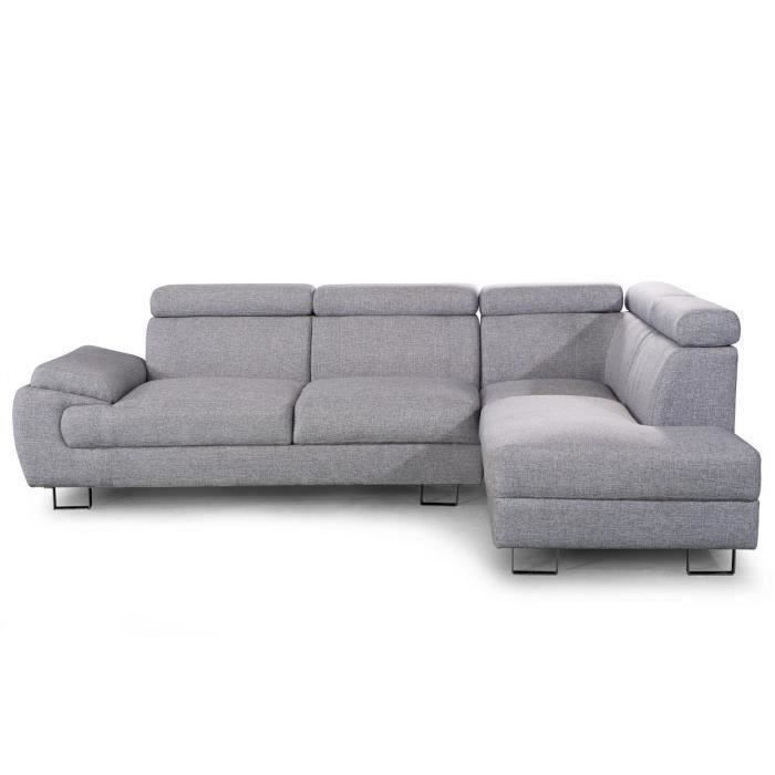 bellasio canap angle droit 3 places tissu gris achat vente canap sofa divan bois. Black Bedroom Furniture Sets. Home Design Ideas