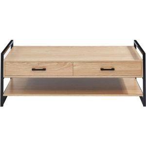 TABLE BASSE HARDY Table basse style industriel décor chêne fon