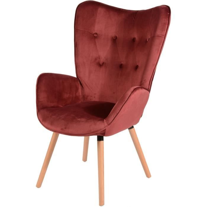 FAUTEUIL VIGGO Fauteuil - Tissu velours rouge - Style scand