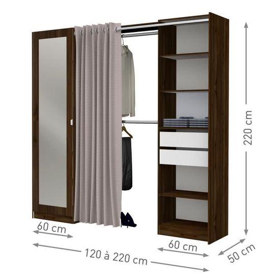 Dressing DRESSCODE avec rideau - Décor noyer - L 120/220 x H 220 x P 50 cm