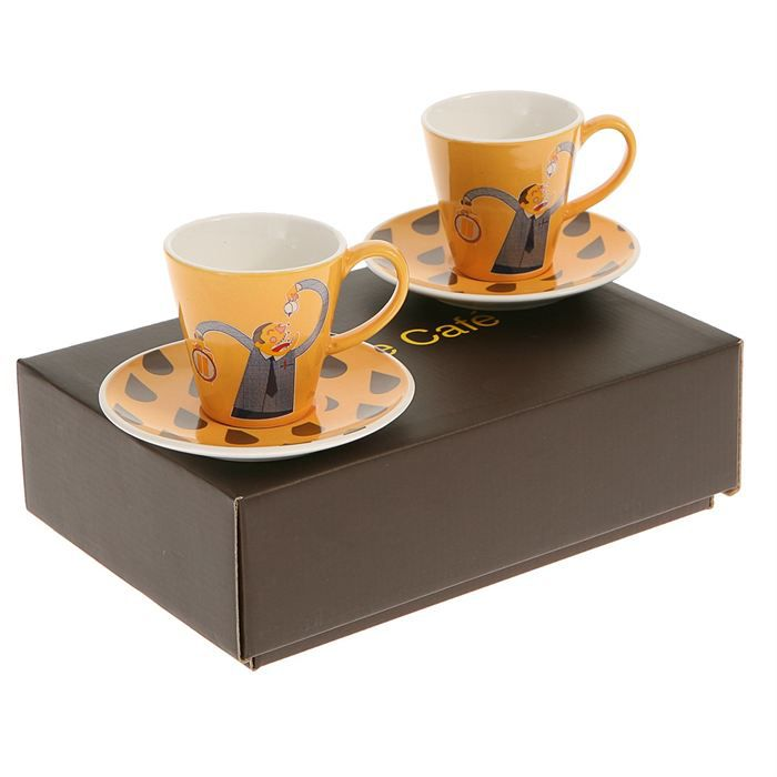 coffret 2 tasses sous tasses pause caf achat vente service th caf cdiscount. Black Bedroom Furniture Sets. Home Design Ideas