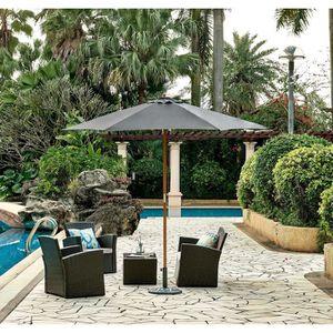 PARASOL Parasol en bois rond et polyester 160g/m² - Arc 2,