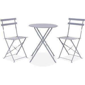 Ensemble table et chaise de jardin Set bistrot - Ensemble repas de jardin - Table pli