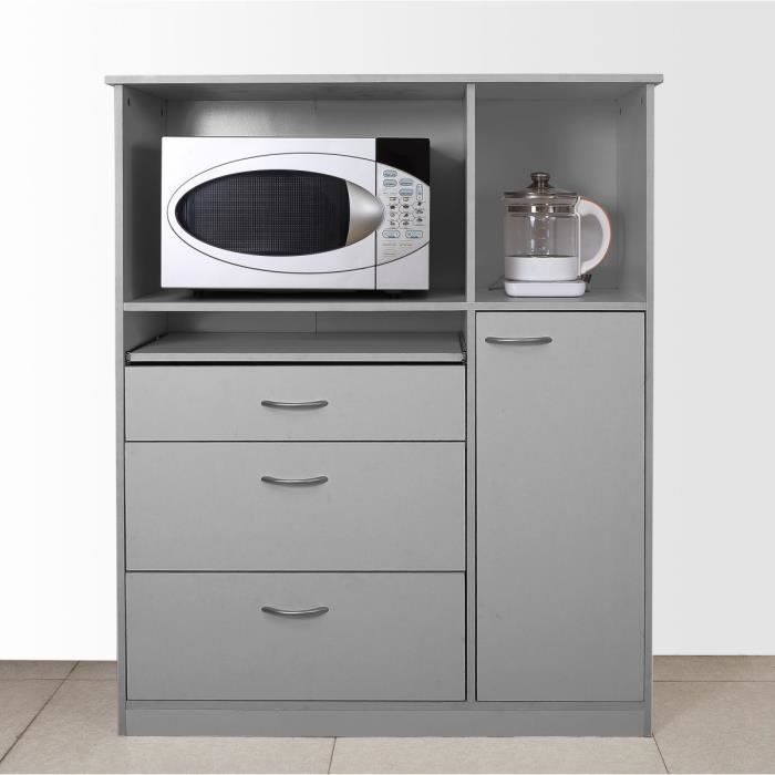 desserte de cuisine 104cm gris achat vente desserte. Black Bedroom Furniture Sets. Home Design Ideas