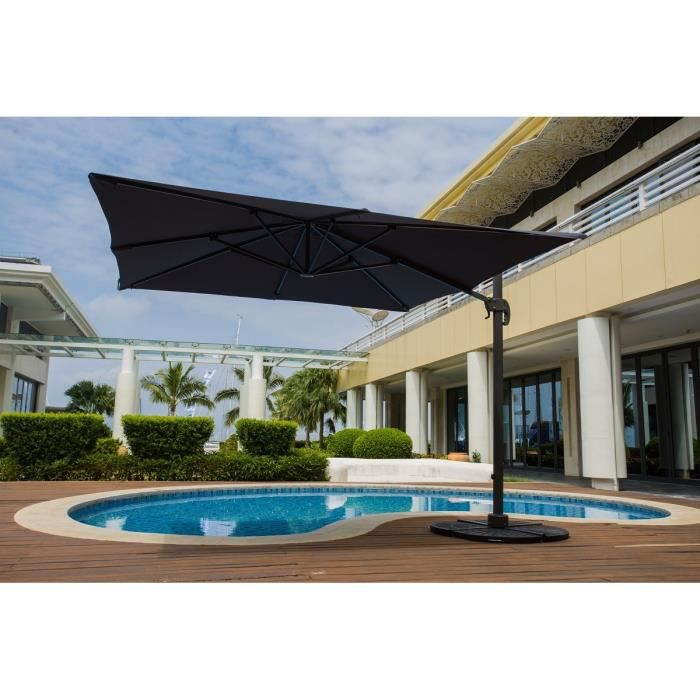 barbados parasol d port 3 x 4m rotatif 360 gris. Black Bedroom Furniture Sets. Home Design Ideas