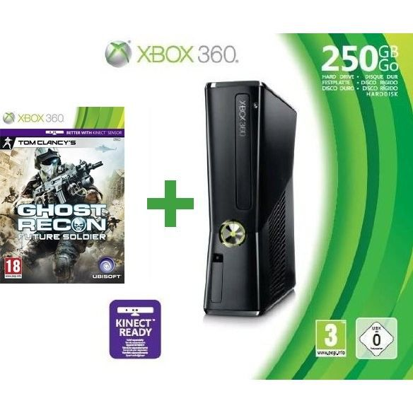 xbox 360 250 go manette sans fil ghost recon achat. Black Bedroom Furniture Sets. Home Design Ideas