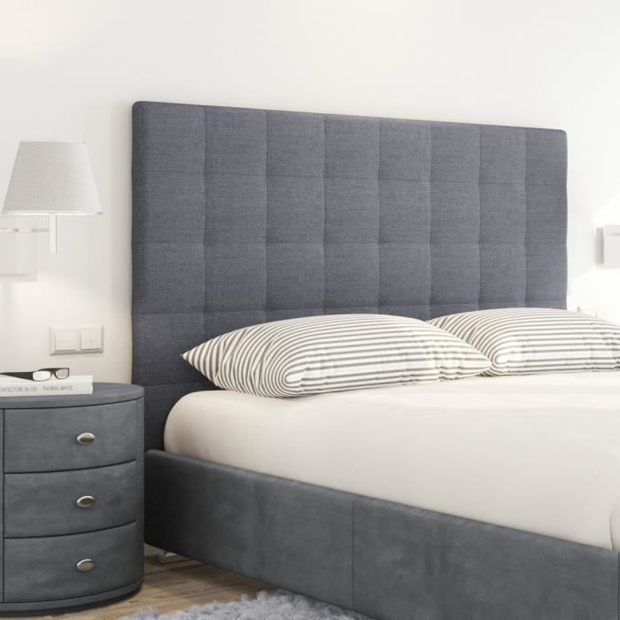 sogno t te de lit capitonn e style contemporain tissu gris fonc l 140 cm achat vente. Black Bedroom Furniture Sets. Home Design Ideas