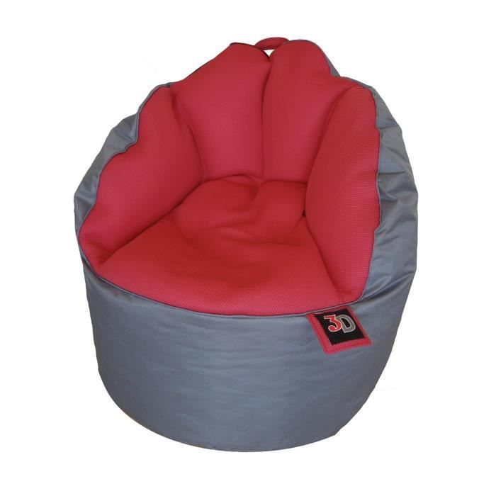 fauteuil pouf gaming mesh 65 cm gris et rouge achat. Black Bedroom Furniture Sets. Home Design Ideas