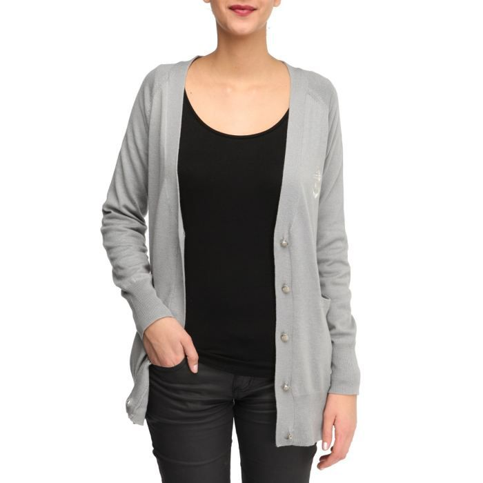 folia gilet femme gris clair gris clair achat vente gilet cardigan cdiscount. Black Bedroom Furniture Sets. Home Design Ideas